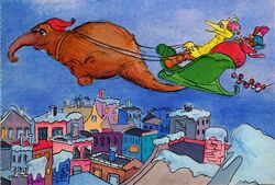 Big bird as santa claus