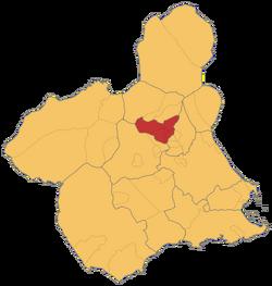 Localización e la Val e Ricote (Murcia)