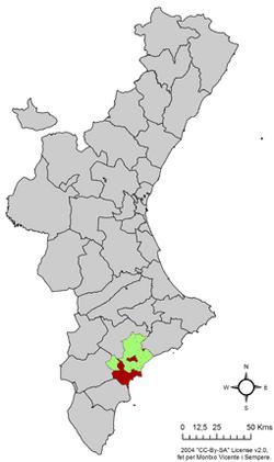 Localització d'Alicante en a Comuniá Valenssiana