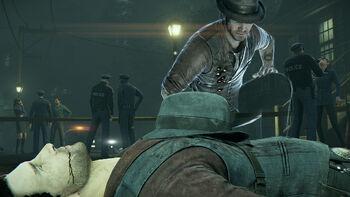 Ronan inspecting his dead body.