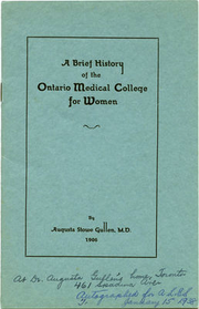 Ontario Medical College for Women pamphlet