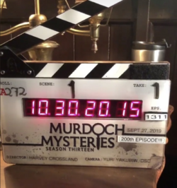 Murdoch Mysteries 200th clapper