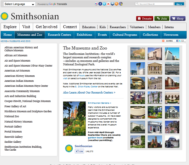 Smithsonian homepage