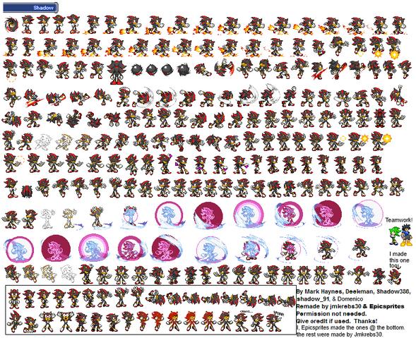 Shadow Hedgehog Sprite Sheet By Epicsprites Fondos De Pantalla