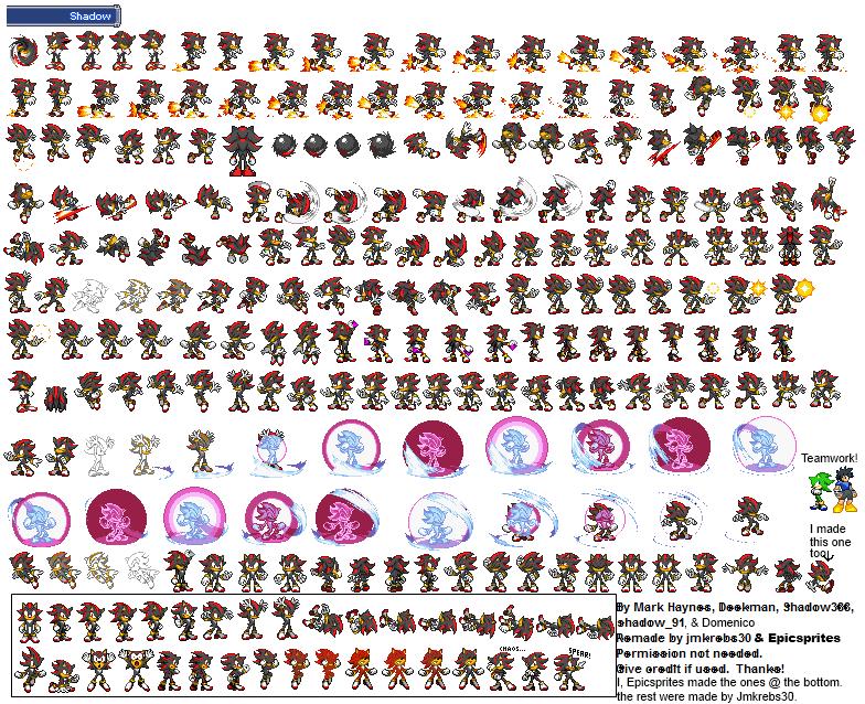 Image Shadow The Hedgehog Sprite Sheet By Epicsprites
