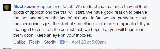 Mushroom fb reply trial start