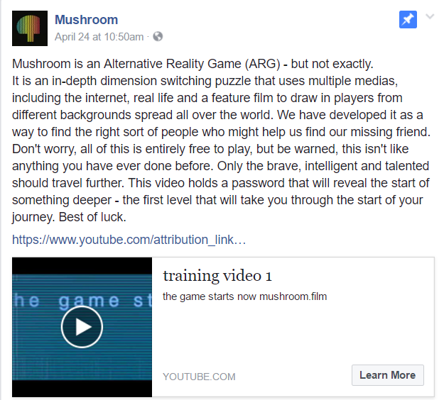 Mushroom post about video