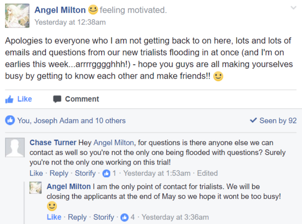 Angel reply trial closing end of may and only contact may 10