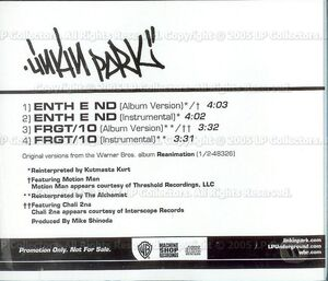 Linkin Park - Enth E Nd-Frgt-10 USA Radio CD (Back)