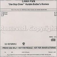 Linkin Park - One Step Closer USA Humble Brothers Remixes Internal Review CD-R (Back)