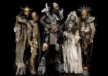 Lordi in their 'Deadache' costumes.