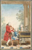Louis Carrogis dit Carmontelle - Portrait de Wolfgang Amadeus Mozart (Salzbourg, 1756-Vienne, 1791) jouant à Paris avec son père Jean... - Google Art Project