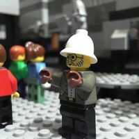 White Moustache Lego Infomaniac Head w// Glasses