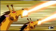 Mutant Giraffe throwing fire like enery from its mouth