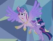 Cadance y twilight volando