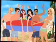 The gang with a surfboard