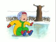 Caillou cries because he slipped and fell