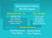Sesame Street Kids Favorite Song 2 DVD Special Thanks