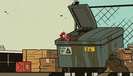S2E25A Lori tosses Fenton into the dumpster