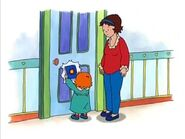 Rosie crying banging on Caillou's door with a book