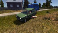 The green little car
