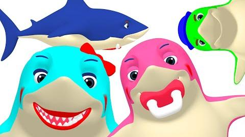 """Shark Week"" 3D Sharks & More Learn Sea Animals, Colors, Daddy + Baby Shark Family Busy Beavers"