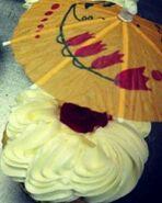 Umbrella pick in cupcake