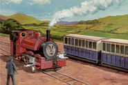 Sir Handel without buffers in his red livery