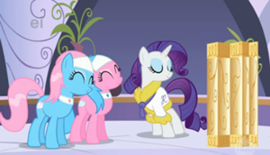 300px-Aloe and Lotus happy with Rarity S1E20