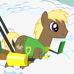 Brown pony with tree cutie mark pulling plow S1E11