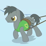 Gray earth pony musical notes cutie mark pulling plow S1E11