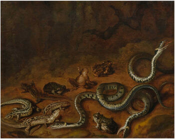 Carstiaen Luyckx (Attr.) - Forest scene with snakes and frogs