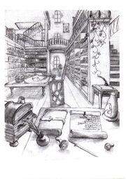 Das Innere der Bibliothek zu Gartha-Rax