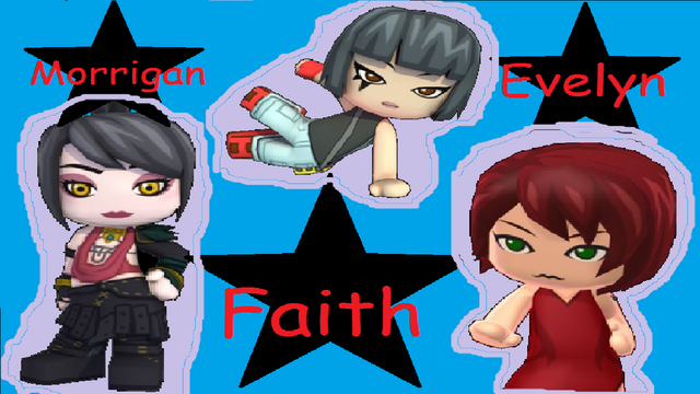 File:Faith, Morrigan and Evelyn Wallpaper 1366x768.png