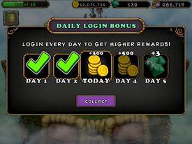 Daily Login Bonus Day 3