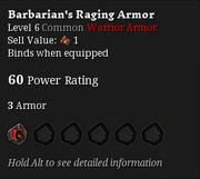 Barbarian's raging armor