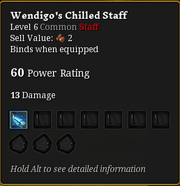 Wendigo's chilled staff
