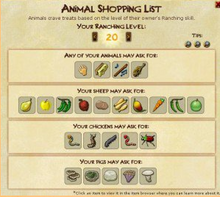 Animal shopping list