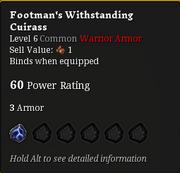 Footman's withstanding cuiras