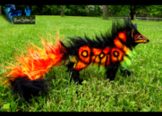 Sold fully hand made poseable fire wolf by wood splitter lee-d65uyqd