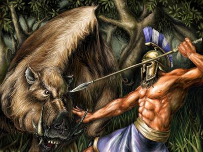 Hercules catching the Erymanthian Boar