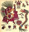 Le dieu Xipe Totec et le dieu serpent Quetzalcoatl avalant un homme. Calendrier religieux mexicain du XVIème siècle (Codex Borbonicus)
