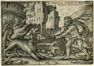 Hercules capturing Cerberus
