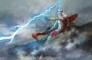 Zeus throws his thunderbolt