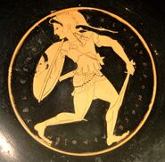 A helmeted Amazon with her sword and a shield bearing the Gorgon head image, Tondo of an Attic red-figure kylix, 510–500 BC