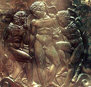 200px-Heracles, Iolaus and Eros - Cista Ficoroni foot