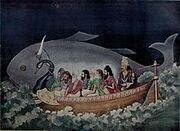 220px-The fish avatara of Vishnu saves Manu during the great deluge