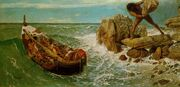 Odysseus and his crew escaping from Polyphemus