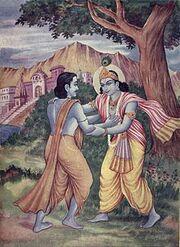 Arjuna meets Krishna at Prabhasakshetra