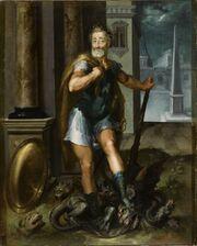 Henry IV en Herculeus terrassant l Hydre de Lerne cad La ligue Catholique Atelier Toussaint Dubreuil circa 1600